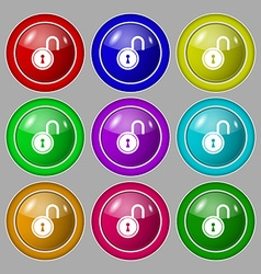 Open lock icon sign symbol on nine round colourful vector
