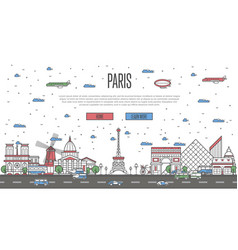 Paris skyline with national famous landmarks vector