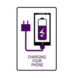 Phone charging flat icon isolated vector image vector image