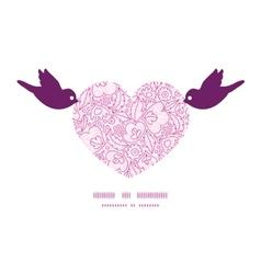Pink flowers lineart birds holding heart vector
