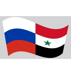 Russian and syrian flags waving vector