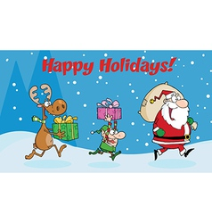 Santa delivering present cartoon vector