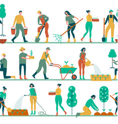 Seamless ribbons with people engaged in gardening vector