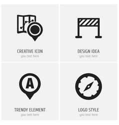 set of 4 editable map icons includes symbols such vector image