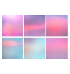 set of square blurred nature blue pink backgrounds vector image