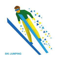 ski jumping cartoon skier during a jump vector image
