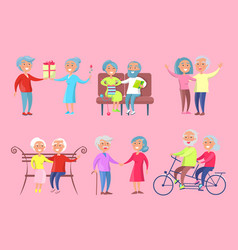 Smiling older people isolated on pink vector