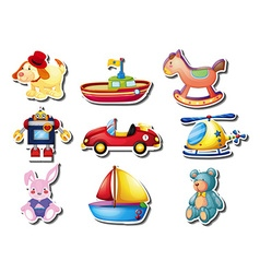 Sticker set of many cute toys vector image vector image