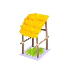 Storage hut with hay roof jungle village landscape vector