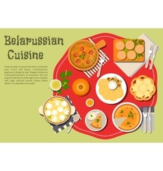 Traditional family dinner of belarusian cuisine vector