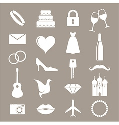 Wedding icon set vector