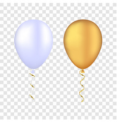 White and gold balloons on a transparent vector