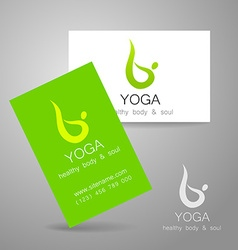 Yoga logo card vector