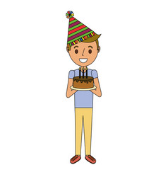 young boy holding birthday cake with candles vector image