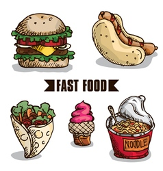 Fast food objects b vector