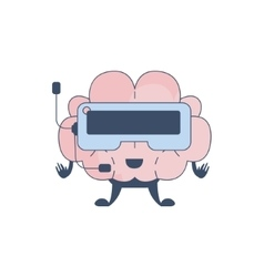 Brain playing virtual reality video games comic vector