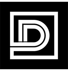 Capital letter D From white stripe enclosed in a vector image