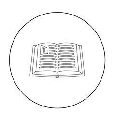 Bible icon in outline style isolated on white vector