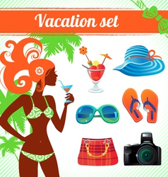 Vacation and travel icon set infographics vector