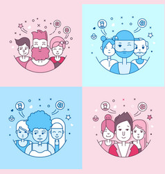 Linear flat people faces icon set vector