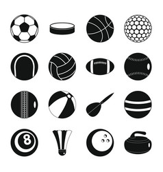 sport balls icons set flat style vector image
