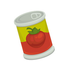 Cartoon canned strawberry in bright container vector