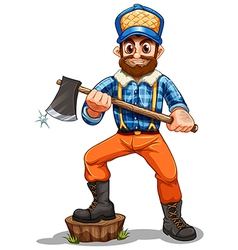 A lumberjack stepping on a stump vector