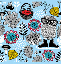 Blue seamless pattern with owl in eyeglasses vector
