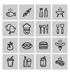 black kitchen icons set vector image