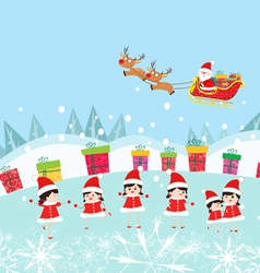 Happy kids decorating santa claus with gifts vector