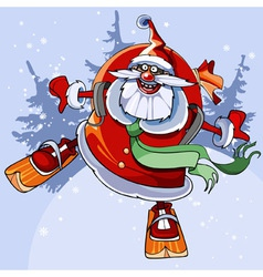 Cheerful santa claus on skis flies vector