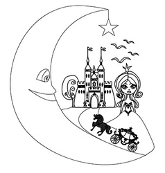 Medieval castleprincess carriage and the moon - vector