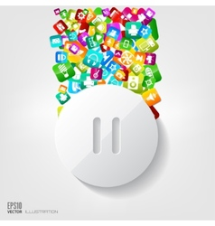 Pause button icon application buttonsocial media vector