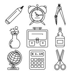 Black school goods black ink icons part 1 vector