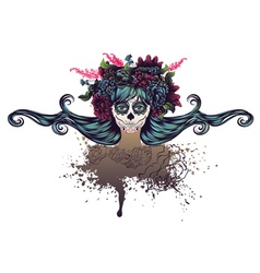 Sugar skull girl in flower crown6 vector