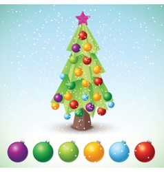 christmas tree with baubles vector image