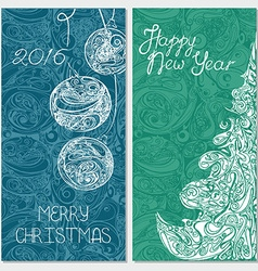 Banner set with christmas tree and xmas balls vector