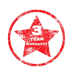 Three year warranty red grungy stamp vector