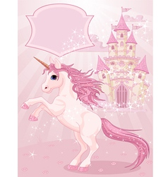 Fairy tale castle and unicorn vector