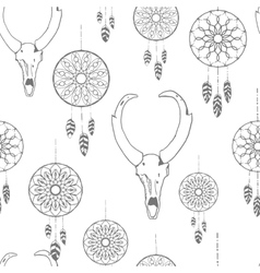 Seamless pattern with hand drawn dreamcatchers and vector