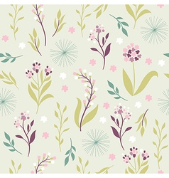 Vintage seamless pattern with flowers vector