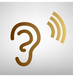 Human ear sign flat style icon vector