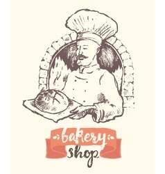 Hand drawn baker man bakery shop sketch vector