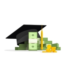 Graduation cap on pile of money education costs vector image