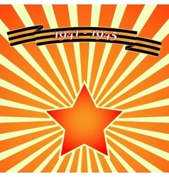 Victory day red star on background of rays vector