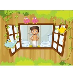 A boy with a towel inside the bathroom vector image vector image