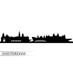 Amsterdam city skyline silhouette background vector
