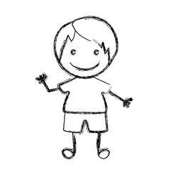 blurred hand drawn silhouette with boy vector image vector image