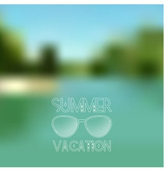 Blurred summer lake background with white sunglass vector