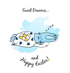 Cartoon easter bunny with dreams vector